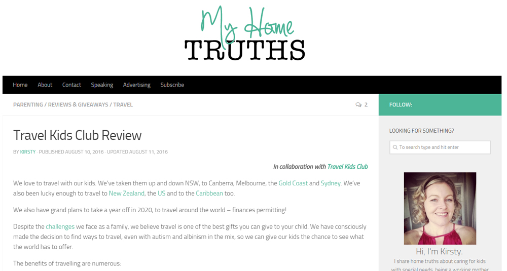 My Home Truths - Travel Kids Club
